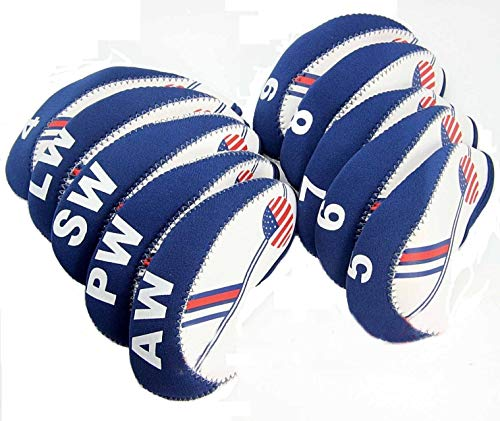 Headcovers Iron Neoprene - Paddsun Golf White & Blue US Flag Neoprene Patriot? Driver Golf Club Head Cover Wedge Iron Protective Headcover for Titleist, Callaway, Ping, Taylormade, Cobra, Nike, Etc.