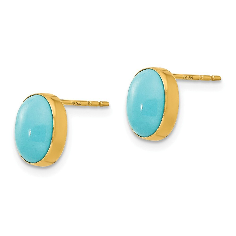 14K Yellow Gold Madi K Childrens 7 MM Bezel Set Oval Turquoise Post Stud Earrings