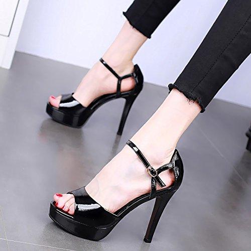 Delgados Verano Zapatos Una Tacones Sexy black Boca En Mesas 12Cm Sandalias Zapatos KPHY Super Hebilla La Pescado Tacones Impermeable De Palabra Noche Sqf5zRw