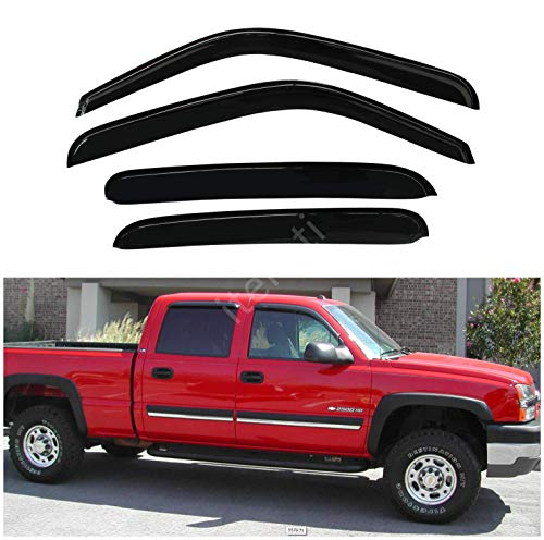 itelleti 4pcs Outside Mount Dark Smoke Sun/Rain Guard Front+Rear Tape-On Auto Window Visors For 00-06 Suburban/Yukon XL 02-06 Avalanche/Escalade ESV/EXT 01-06 Silverado/Sierra 07 Classic Body Crew ()