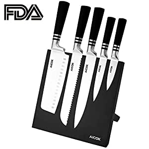 Aicok Knife Set with Magnetic Knife Holder, Stainless Steel Knife Block Set with Magnetic Knife Stand, 6 Piece, Black
