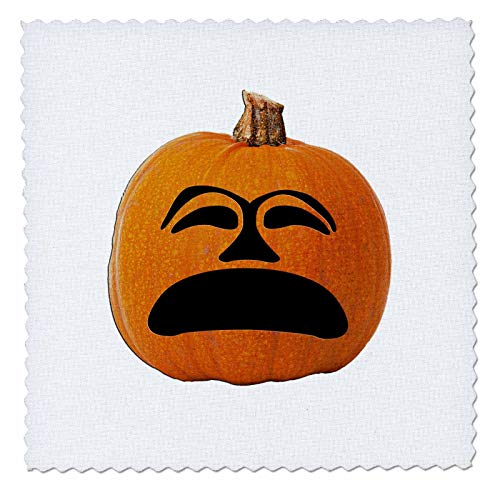 (3dRose Sandy Mertens Halloween Food Designs - Jack o Lantern Unhappy Sad Face Halloween Pumpkin, 3drsmm - 22x22 inch Quilt Square)