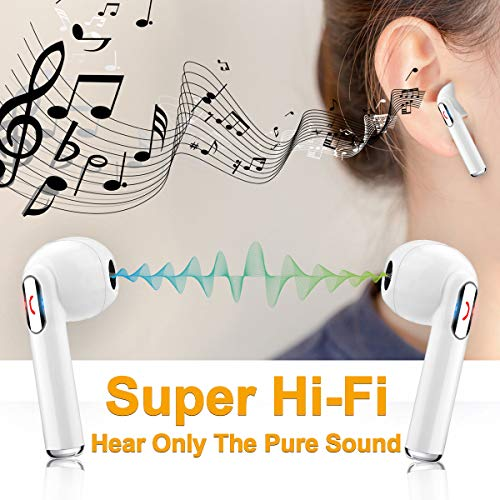 Wireless Earbuds, iFuntec Bluetooth Headphones with Mic Compact in-Ear Headphones Mini Cordless Sports Earphones Stereo True Wireless Earbuds with Portable Charging Case for Android Smartphones White by iFuntec (Image #1)