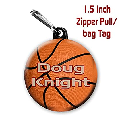 Two Basketball Zipper Pulls Bag Tags 1 5 Inch Charms Personalized With Name