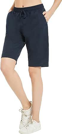 DEMOZU Women's 5 Inch Cotton Sweat Shorts Summer Athletic Yoga Walking Lounge Pajama Shorts with Pockets