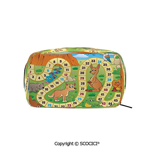 Rectangle Beauty Girl And Women Cosmetic Bags Australian Cartoon Landscape with Numbers Natural Widlife Concept Fun Play Print Decorative Printed Storage Bags for Girls Travel