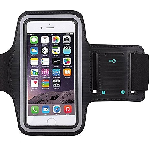 [1 Pack]Premium Water Resistant Sports Armband with Key Holder for iPhone 7, 6, 6S (5.5-Inch), Galaxy s6,s7,S3/S4, iPhone 5/5C/5S, Bundle with Screen Protector Full Access to Touch Screen