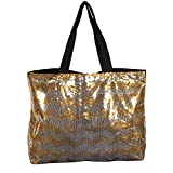 Gold Silver Chevron Sequin X Large Tote Bag 24-inch