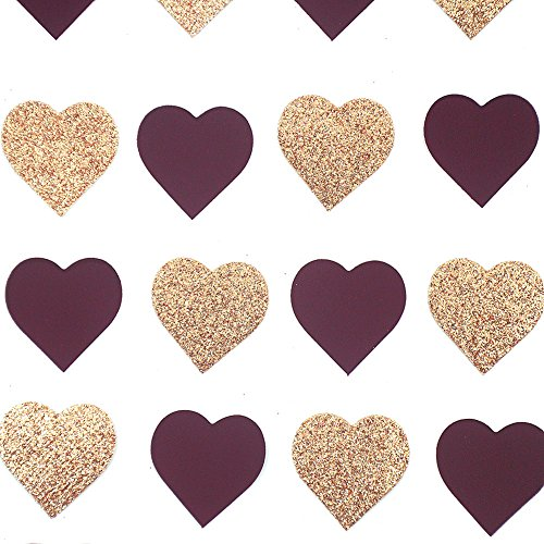 1 Inch 50 Grams Queen of Hearts Poker Heart Shaped Confetti Double Sided Bronze Gold Glitter Burgundy Wine Red Suede Confetti for Wedding Bridal Shower Bachelor Party Decor Over 600 Pcs