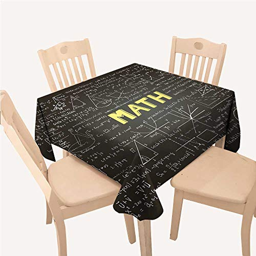 WilliamsDecor Mathematics Classroom Decor Custom tablecloths Dark Blackboard Word Math Equations Geometry AxisDark Brown White Yellow Square Tablecloth W54 xL54 inch -