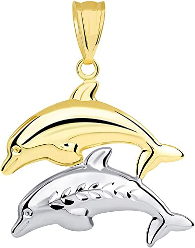 14K Yellow Gold Jumping Dolphin Prosperity Charm Pendant For Necklace or Chain