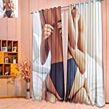 SeptSonne Blackout Room Darkening Curtains cropped image of beautiful passionate couple having sex on bed man is unfasteni Window Panel Drapes Grommet Top(W52 x L84 Pair)