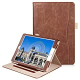 Soweiek New iPad 9.7 2017 / iPad Air/Air 2 Folio Case - Premium Leather Flip Stand Smart Cover Auto Wake / Sleep with Hand Strap, Stylus Holder and Card Pocket, Brown