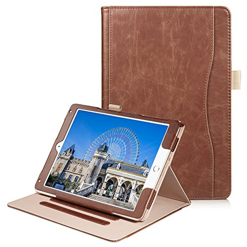 New iPad 9.7 2018/2017/iPad Air/Air 2 Case - Soweiek Premium Leather Folio Protective Smart Stand Cover Auto Wake/Sleep with Hand Strap,Pencil Holder and Pocket, Brown
