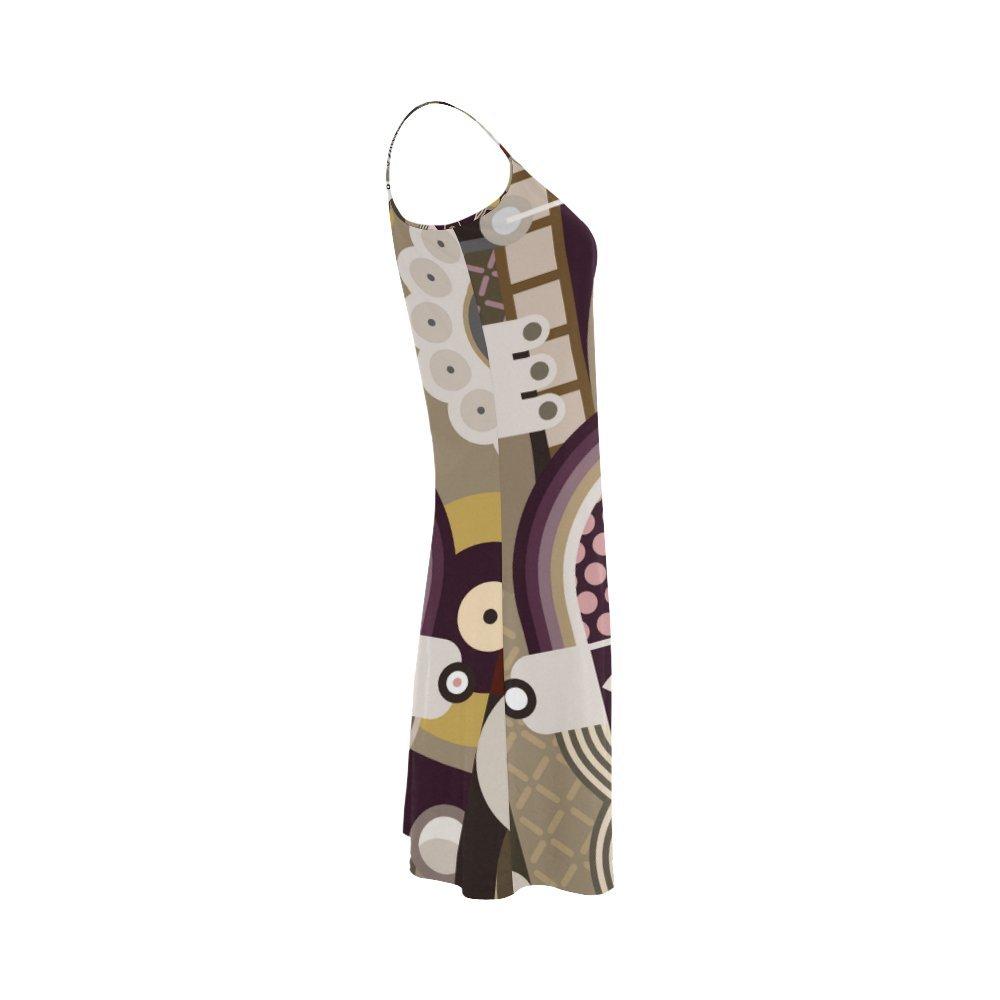 Womens Pop Art Polyester Casual Slip Dress