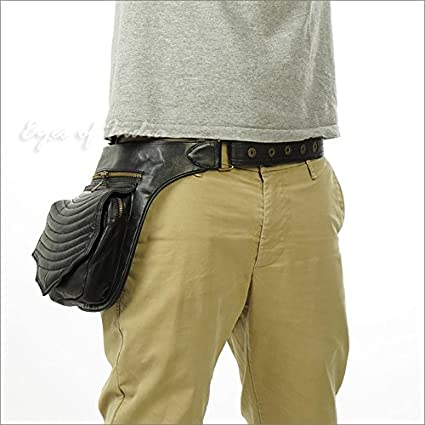 3b167f409 Image Unavailable. Image not available for. Color  Eyes of India - Black  Leather Belt Waist Bum Hip Pouch Bag Utility Fanny Pack Pocket