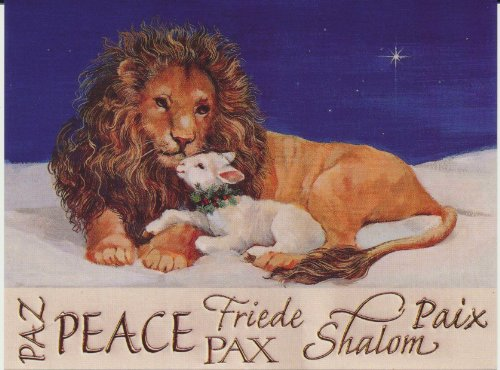 Lion and Lamb Peace Christmas Postcards 5 1/2 Inch by 4 1/4 Inch Pack of 10