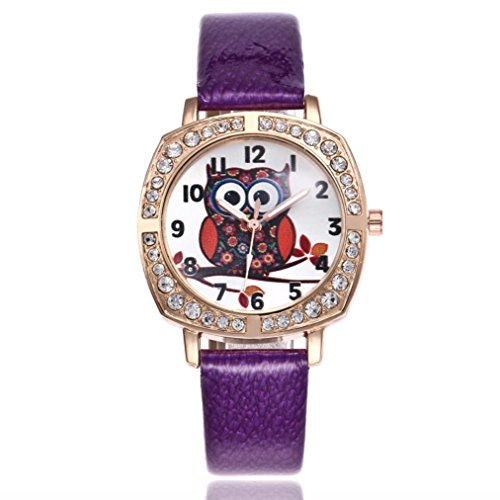FAPIZI Gift Watch Cute Owl Women Fashion Alloy Band Analog Quartz Round Wrist Watch Watches (Purple)