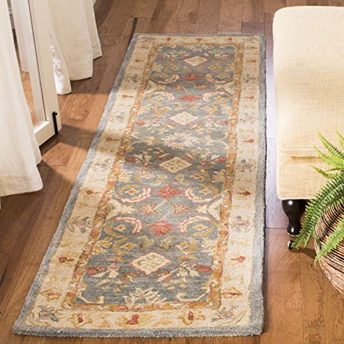 Safavieh Anatolia Collection AN544D Handmade Traditional Oriental Light Blue and Ivory Wool Runner (2'3