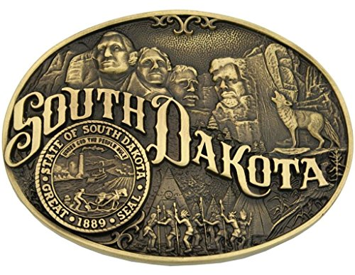 Belt South Dakota - Montana Silversmiths Men's South Dakota State Heritage Attitude Belt Buckle Gold One Size