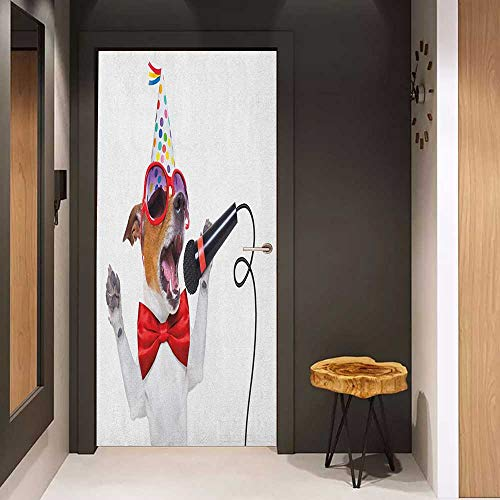 Onefzc Self-Adhesive Wall Murals Popstar Party Jack Russel Dog with Sunglasses Party Hat and Bowtie Singing Birthday Song Sticker Removable Door Decal W23.6 x H78.7 ()