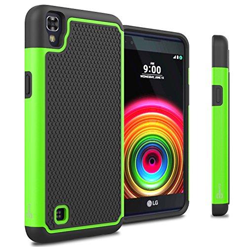 LG X Power Case, CoverON [HexaGuard Series] Slim Hybrid Hard (Neon Green Hard Case)