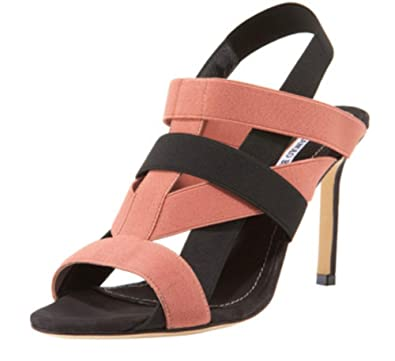 51e83ce4950f3 Image Unavailable. Image not available for. Color  Manolo Blahnik Orina  Blush Black Heeled Sandals