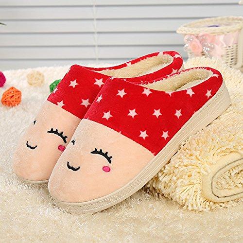 Y-Hui rostro sonriente, zapatillas de algodón, Casa amantes, zapatillas de algodón,42/43,Rojo Grande