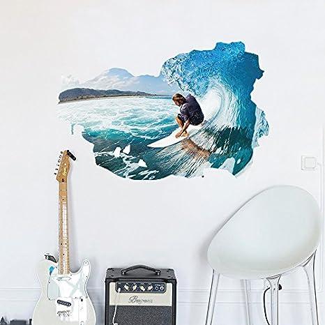 Zooarts So Cool 3d Surfing extraíble adhesivo de pared vinilo adhesivos decoración Casa Salón Dormitorio Mural: Amazon.es: Hogar