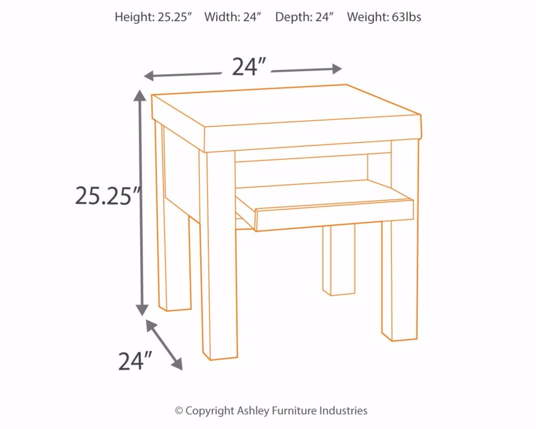 Ashley Furniture Signature Design - Kraleene End Table - Pull Out Tray with USB Ports - Contemporary - Dark Brown by Signature Design by Ashley (Image #5)