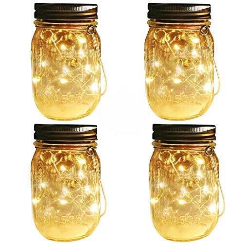 (Aobik Solar Mason Jar Hanging Lights,4 Pack 20 LEDs (Mason Jar & Hanger Included) Warm White Waterproof Fairy Firefly Led String Mason Jar Lights,Best for Wedding Garden Patio Outdoor Solar Lanterns)