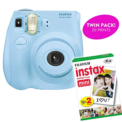 Fujifilm Instax Mini 7S Instant Print Camera (Certified Refurbished) Plus Twin Pack of Film Starter Bundle | 10 Sheets x 2 = 20 White Frame Instant Exposure Photograph Sheets (Light Blue)