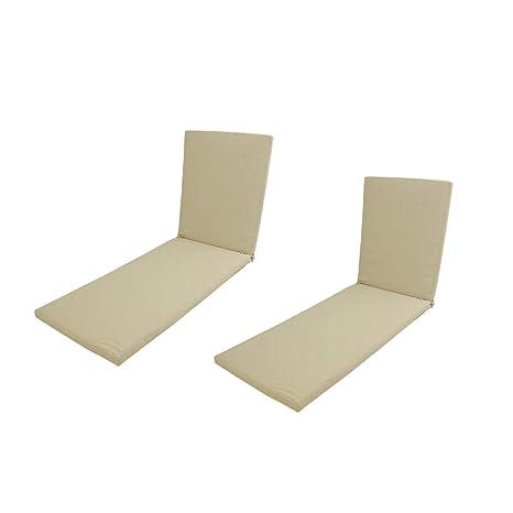 Edenjardi Pack 2 Cojines para Tumbona de Exterior estándar Lux Color Crema | Tamaño 196x60x5 cm | Repelente al Agua | Desenfundable | Portes Gratis