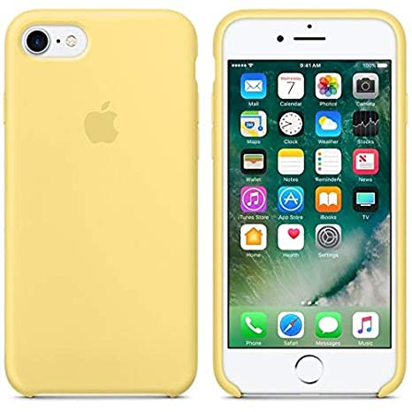 Desconocido Funda para iPhone 6 / 6s, Silicona Amarillo Pastel Logo Apple, Carcasa Silicona Amarilla iPhone (iPhone 6 / 6s)