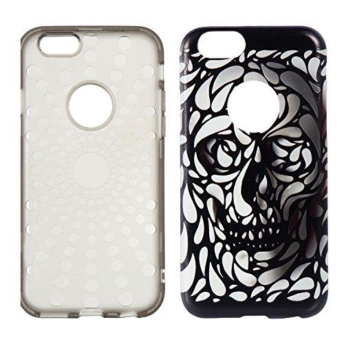 """Hülle iPhone 6 Plus / 6s Plus , LH Flacher Schädel Combo TPU Weich Muschel Tasche Schutzhülle Silikon Handyhülle Schale Cover Case Gehäuse für Apple iPhone 6 Plus / 6s Plus 5.5"""""""