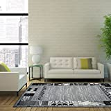 "Nanaimo Dark Grey Black Border Area Rug Transitional Living Room Rug (7'10"" x 10'5"")"