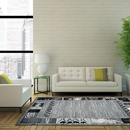 Used, Nanaimo Dark Grey Black Border Area Rug Transitional for sale  Delivered anywhere in Canada