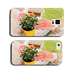 close up of woman hands planting roses in pot cell phone cover case iPhone6 Plus