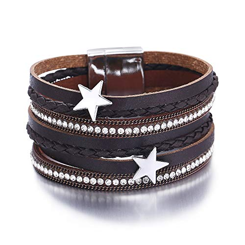 FINETOO Brown Star Wrap Bracelet Multi-Layer Leather Bracelet Crystal Rhinestone Braided Wrap Cuff Bobo Bangle - with Alloy Magnetic Clasp Handmade Jewelry for Women,Girl Gift