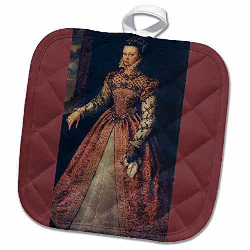 3D Rose Elizabeth of Valois-Queen of Spain-1565 by Alonso Sanchez Coello Pot Holder, 8 x 8'' by 3dRose