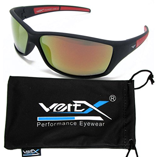 Revo Sunglasses Affordable (VertX Men's Polarized Sunglasses Sport Cycling Outdoor Soft Rubber Finish – Black and Red Frame – Orange Lens)