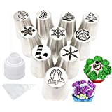 Cofe-BY Russian Icing Piping Tips Set Christmas Design for Cakes Cupcakes Cookies - 21pcs Set Cake Decorating Pastry Baking Tools Kits 10pcs Icing Nozzles-1 Coupler -10 Disposable Pastry Bags
