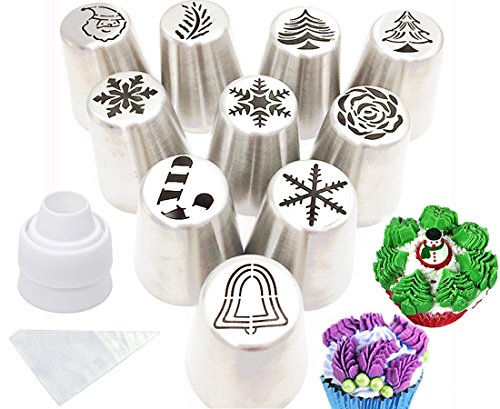 Cofe-BY Russian Piping Tips set for Cakes Cupcakes Decorating-21pcs set Christmas Design Party Cake Icing Tips Pastry Baking Kits 10pcs Russian Nozzles-1 Coupler -10 Disposable Pastry Bags