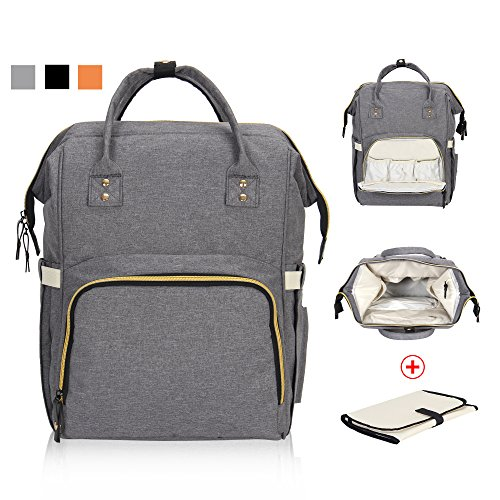 Hynes Eagle Multi-function Baby Diaper Bag Backpack for Dad Mom Stylish Nappy Bag with Changing Pad Grey