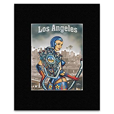 LOS ANGELES - Leaf Blower Girl 2002 Matted Mini Poster - 29.3x23.5cm