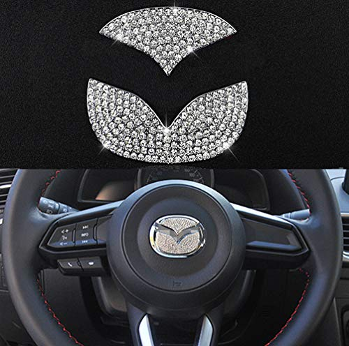 (TopDall Steering Wheel Unique Crystal Badge Emblem Bling Decal Decoration Cover Sticker Trim for Mazda 3,5,6, CX-5,CX-7,CX-8 (2015-2019))