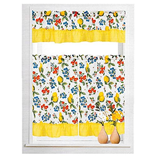 Ordinaire MarCielo 3 Piece Printed Floral Kitchen/Cafe Curtain With Swag And Tier  Window Curtain Set, Fruit Lemon