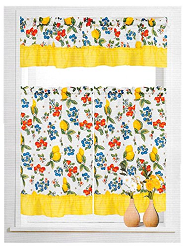 Ann's 3 Piece Printed Floral Kitchen/Cafe Curtain With Swag and Tier Window Curtain Set, Fruit Lemon
