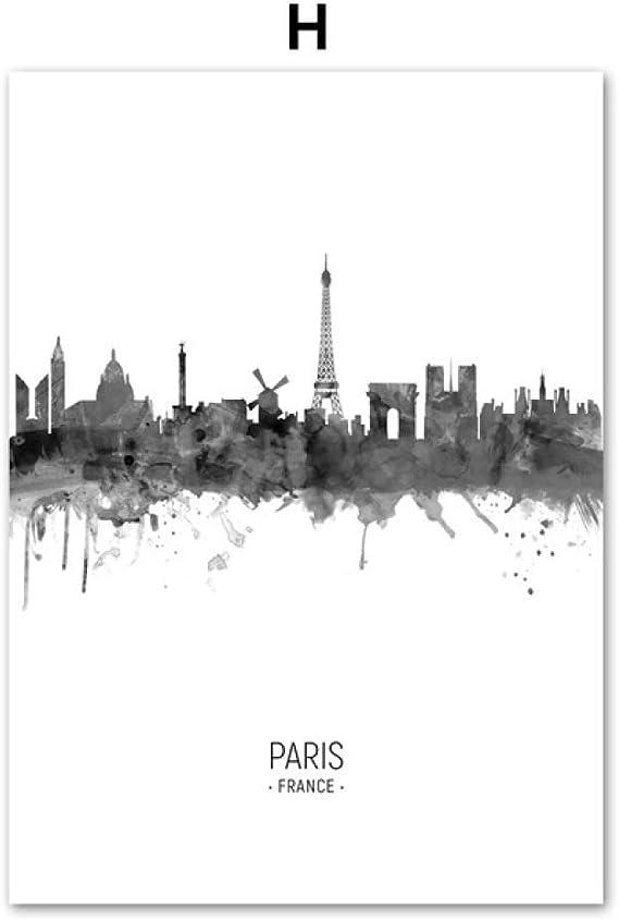 LiMengQi París, Ciudad, Mapa,Roma, Londres, Tokyo, Nueva York, Pared, Arte, Lienzo, Pintura, Carteles nórdicos, imágenes de Pared, Sala de Estar: Amazon.es: Hogar
