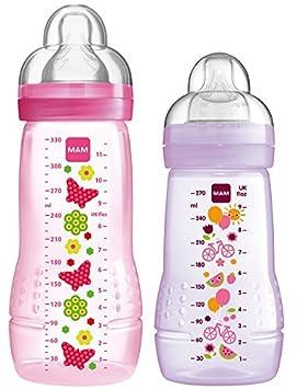 MAM - Juego de biberones (270 ml y 330 ml) rosa/lila: Amazon ...